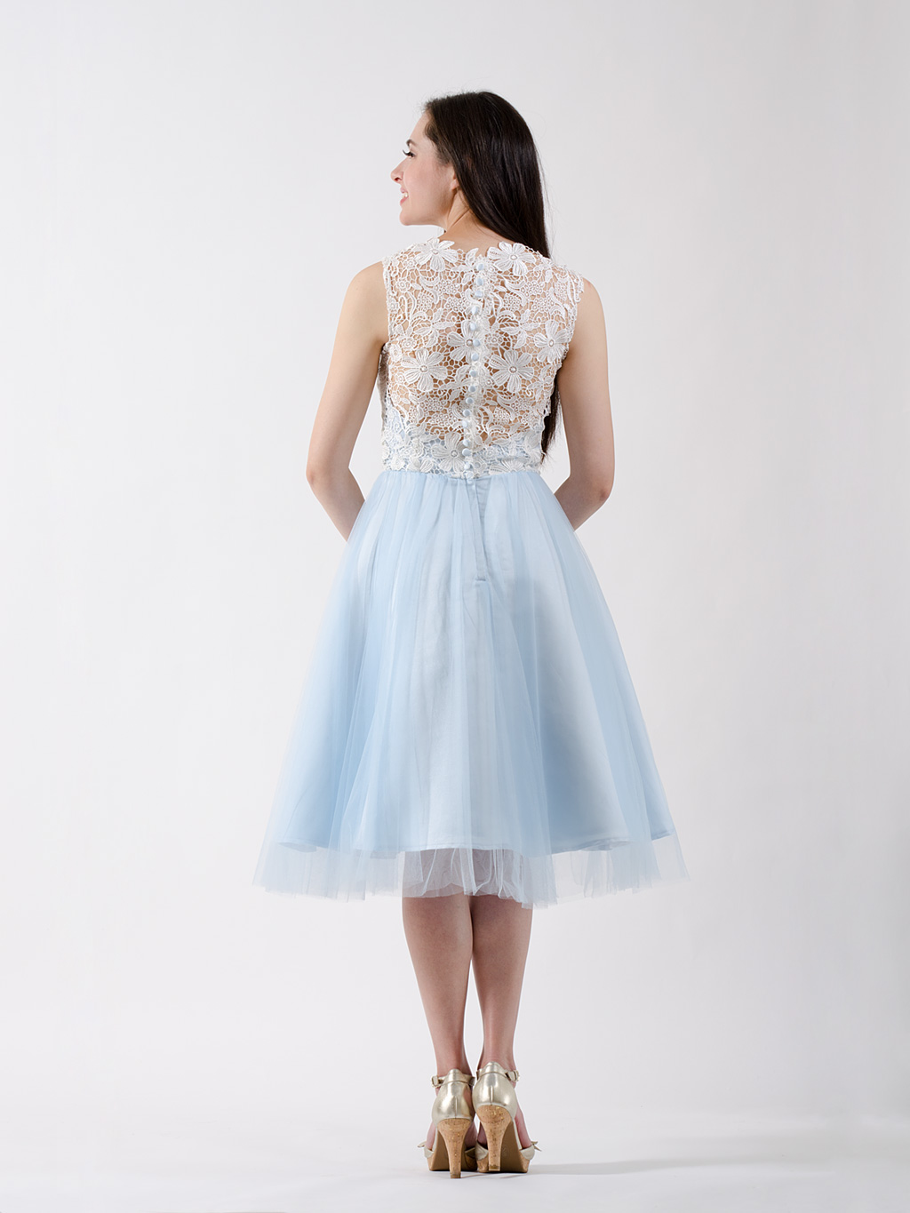 Lace bridesmaid dress ice blue for Blue lace wedding dress