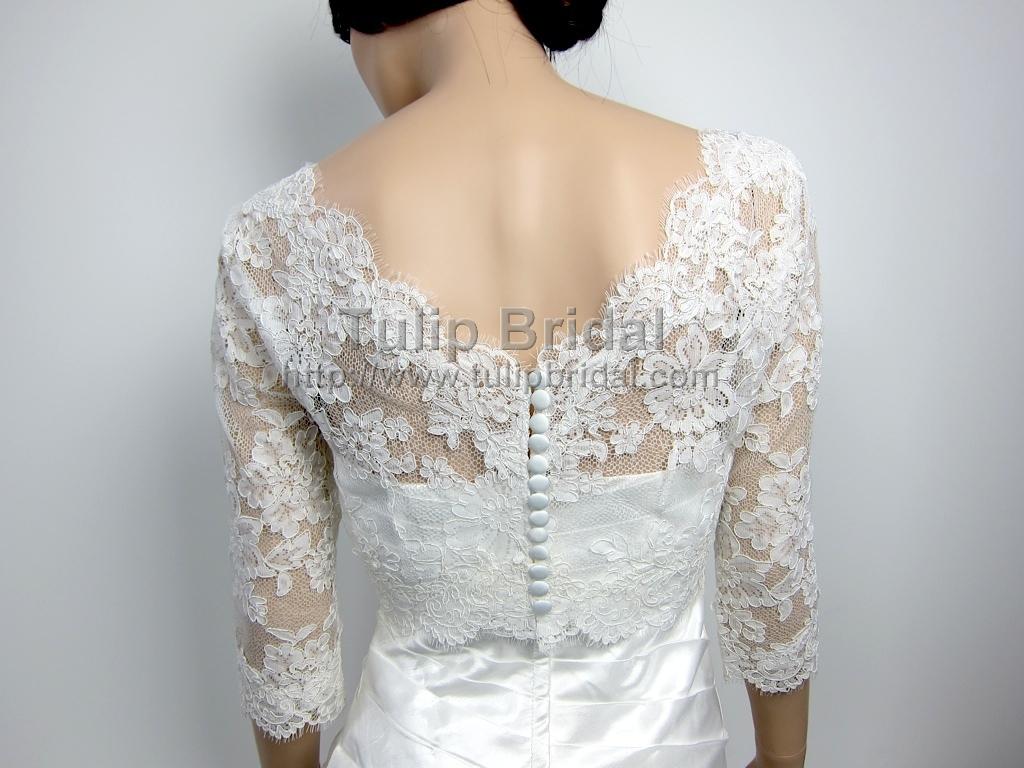 Lace bolero wedding jacket wj004 for Lace shrugs for wedding dresses